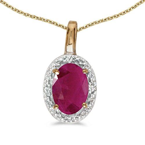 FB Jewels Solid 14k Yellow Gold Genuine Birthstone Oval Ruby And Diamond Pendant (0.36 (Genuine Red Ruby Oval Pendant)