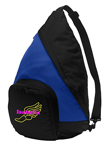 Sling Pack Backpack by All About Me Company | Personalized Track and Field Book Bag (True Royal/Black) Review