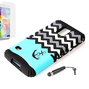 New 3-piece Impact Hybrid Combo Hard Case Cover For Samsung Galaxy S5 Blue Chevron Anchor Black Soft Skin With Stylus Pen