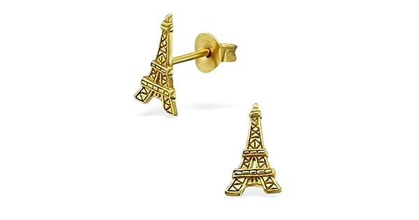 Amazon.com: Liara – Torre Eiffel Plain zarcillos arete de ...