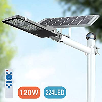 LED Solar Street Lights, Outdoor Dusk to Dawn Pole Light with Remote Control, Waterproof, Ideal for Parking Lot, Stadium, Yard, Garage and Garden (Cool White)