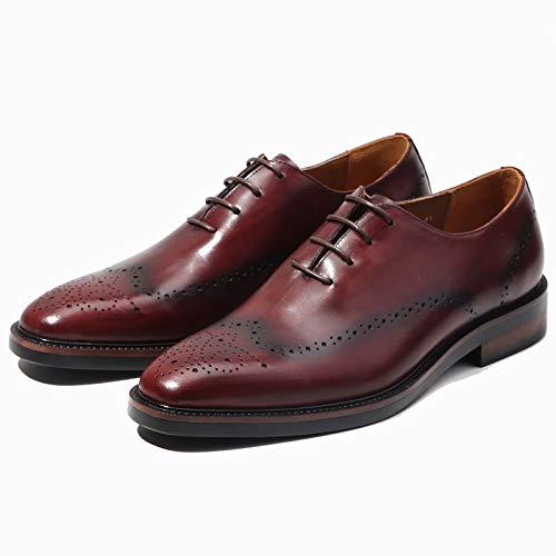 Boda Brogue Negro Oficina Cordones Fiesta Trabajo De Zapatos Hombre A Rojo Con Hombres Para Mocasines Negocio Oxford Vestir Formal Cuero Genuino Yongbe Inteligente Derby qTnSAORxw