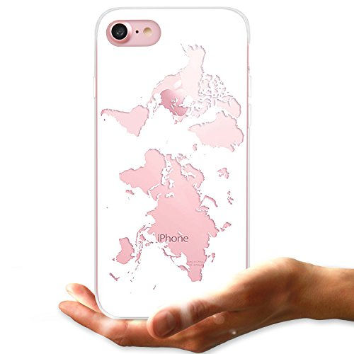 LUHOURI iPhone 7 Case,iPhone 8 Case,Cute World Map for Girls Women Men Clear Crystal Transparent TPU Bumper Slim fit Soft Silicon Rubber Protective Phone Case Cover for iPhone 7/iPhone 8