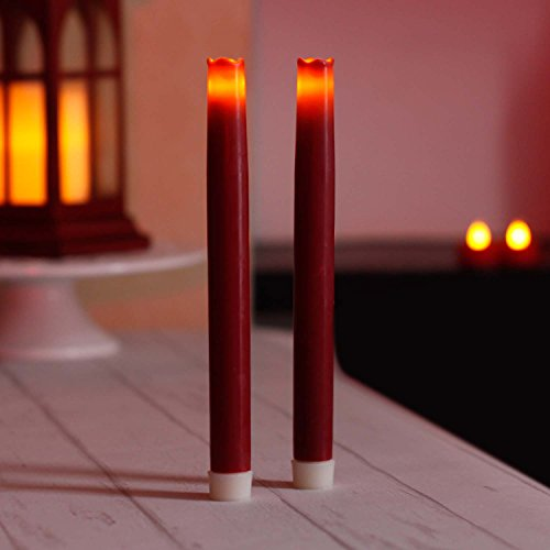 9 Inches Led Taper Candles with Timer, Dripless Battery Operated Candle for Home and Christmas Decoration, Burgundy, Pack of 2 (Battery Red Taper Candles Operated)