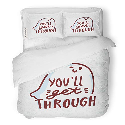 Emvency Bedding Duvet Cover Set Orange Autumn Pun Halloween Cute Doodles and Lettering Text You Ll Get Through Word Play on Quibble for Bat 3 Piece Twin 68