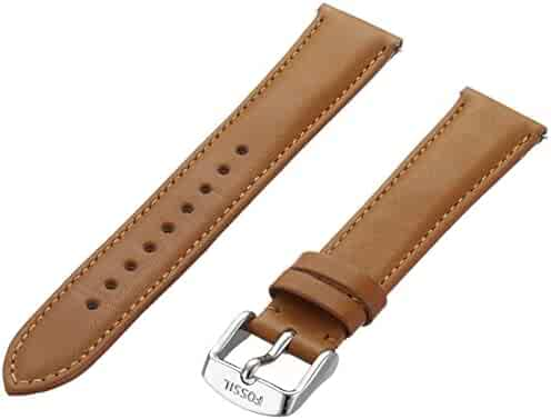 Fossil Women's 18mm Leather Watch Band, Color:Brown (Model: S181254)
