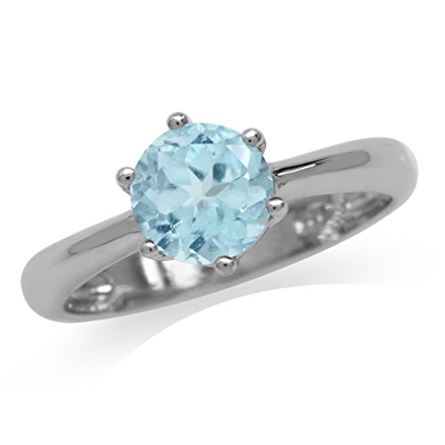 (Silvershake 1.61ct. Genuine Blue Topaz White Gold Plated 925 Sterling Silver Solitaire Ring Size)