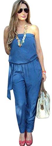Donne Del Vita Aro Lora Senza Spalline Pantaloni Delle Denim Pezzo Legame Di Sexy Blu Tute PxZTpX