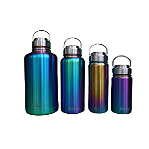 Omnia h2o Canteen - 12oz, 18oz, 32oz or 64oz, Vacuum Insulated Stainless Steel Water Bottle, Wide Mouth Flask with All Metal Lid, Enjoy Hot and Cold Drinks, Growler great for Beer and Wine (18 oz)