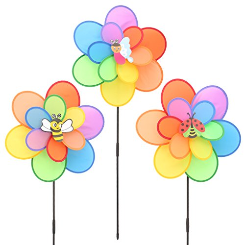 Sample9 Large Double Layer Insect Windmill Wind Spinner Toy For Kids -Garden Lawn Party Decoration-Colorful Flowers Outdoor Parties Ornament for Children's Day Gift ()