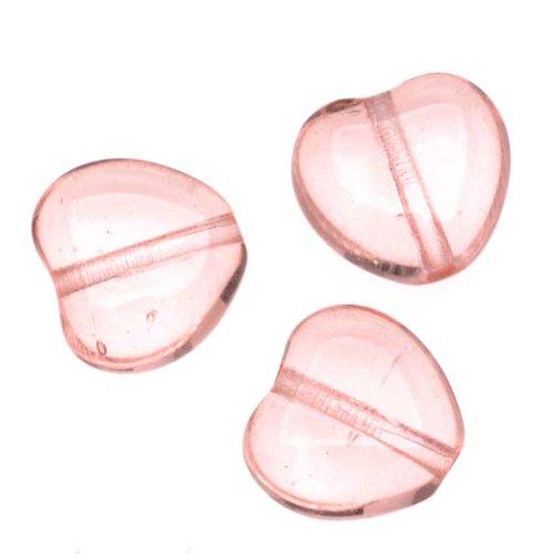 Czech Pressed Glass - Heart Shaped Beads 8.5x7.5mm 'Rosaline' (25)
