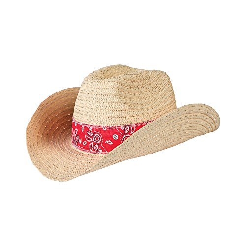 (Western Cowboy Hat with Red Bandana (Set of 12) Woven Straw - 24 Inch Circ.)
