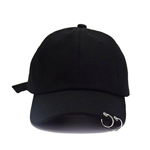 Kokkn BTS Baseball Cap Wings Kpop Bangtan Boys Outdoor Iron Ring Snapback Hat Casual Adjustable Dad Hat Hip Hop Hat (Black Ring)