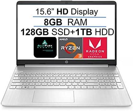 2021 Newest HP 15 15.6″ HD Display Laptop Computer, AMD Ryzen 3 3250U(up to 3.5GHz, Beat i3-8130U), 8GB DDR4 RAM, 128GB SSD+1TB HDD, WiFi, Bluetooth, HDMI, Webcam, Remote Work, Win 10 S, AllyFlex MP