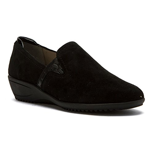 ara Womens Lilli Loafers Shoes Black Suede/Patent bhFL3mB