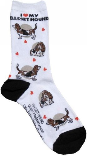 Evolution Avenue Women's Bassett Hound Sock 9-11 - Bassett Hounds