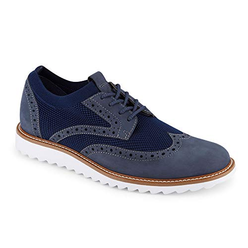 Dockers Mens Hawking Knit/Leather Smart Series Dress Casual Wingtip Oxford Shoe with NeverWet, Navy, 13 M