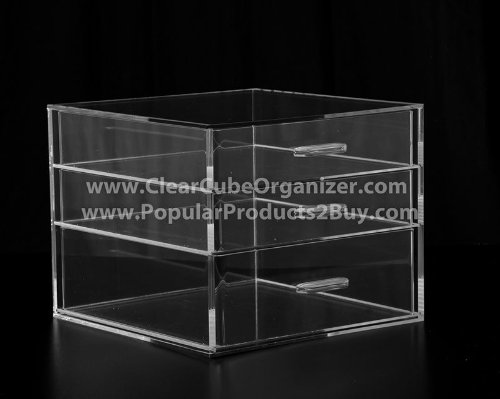 Acrylic Cube Makeup Organizer (3 drawers)
