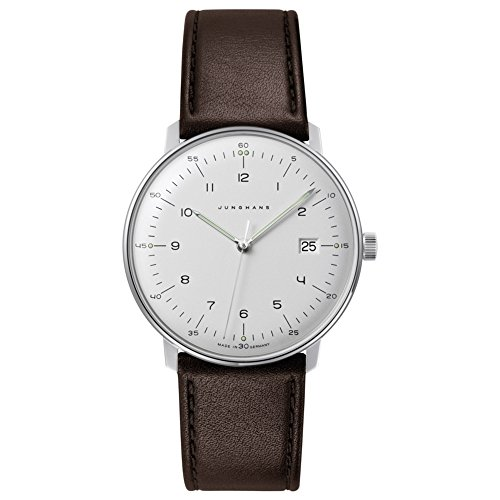 Junghans Men's Max Bill Stainless Steel Quartz Watch with Leather Calfskin Strap, Brown, 20 (Model: 041/4461.00) (Max Bill Watch)