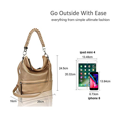 Handbag Black Medium Crossbody Braided Leather Bag Shoulder Tote Women's Hobo Shopper wBqA144P