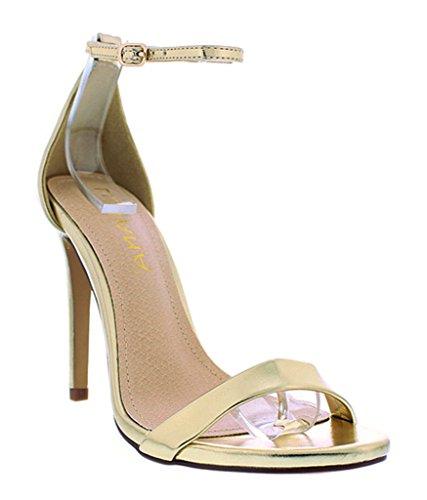 [Open Toe Womens High Heels Stiletto Ankle-Strap Sandal Liliana Sunna-1(Gold 6)] (Clunky Heels)