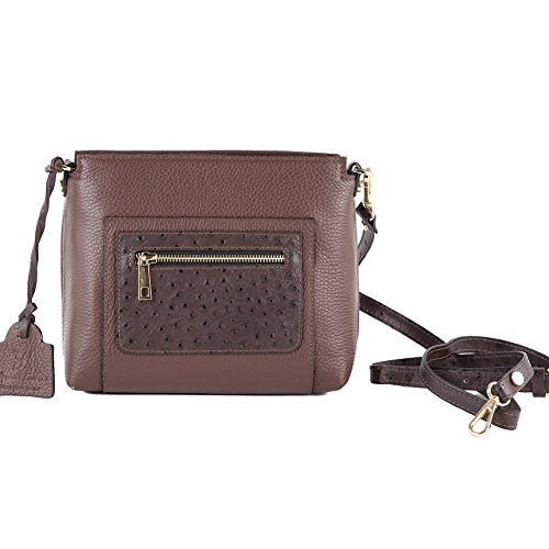 Borsa clutch, Guenda Marrone, in pelle