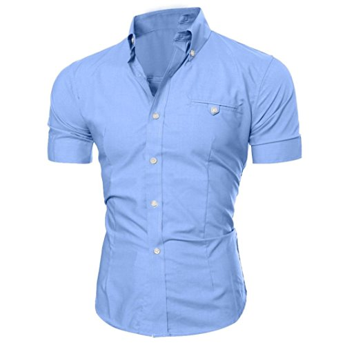Realdo Mens Shirt, Summer Casual Solid Short Sleeve Button Down T-Shirt Top Blouse(Blue,XX-Large)