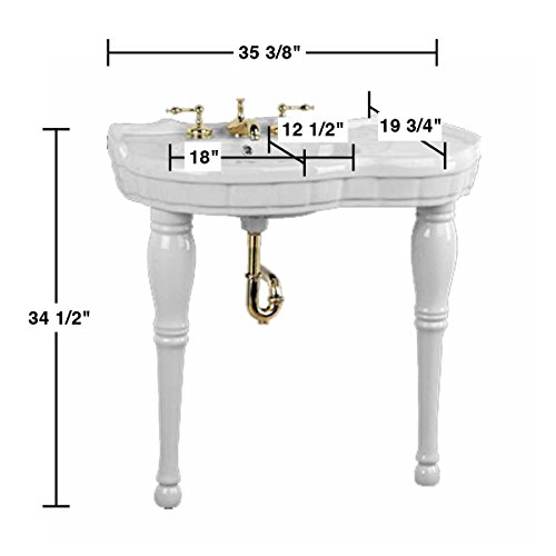 White Console Sink Southern Belle With White Porcelain
