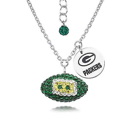 DiamondJewelryNY Silver Pendant, NFL Green Bay Packers Football Necklace