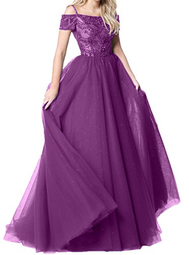 A Partykleider Abendkleider Promkleider Abschlussballkleider Festlichkleider Charmant 2018 Traube Lang Damen Kurzarm Linie qwx7qzXp