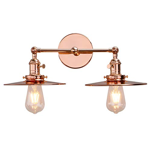 Phansthy Double Sconce Copper Finishes Industrial Wall Sconce with Switch and 7.87 Inches Flat Crafted Canopy (Copper)