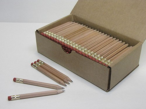 Musgrave Pencil, Half Pencils with Eraser, Golf Events School Church Library Pencil, Hexagon, Number 2, Sharpened, Box of 144, Natural Wood Grain]()