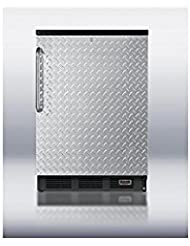 Summit FF7LBLBIPUBDPL Refrigerator, Silver With Diamond Plate