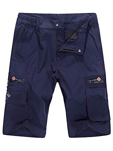 - OCHENTA Men's Expandable Waist Lightweight Quick Dry Cargo Shorts Blue 34