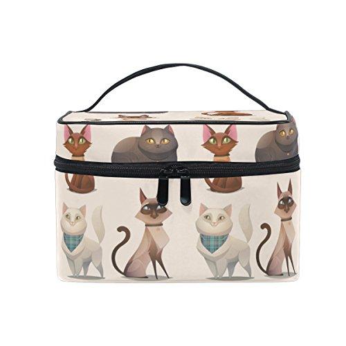 Travel Makeup Bags Four Cartoon Cat Cosmetic Bags Organizer Train Case Toiletry Make Up - Bags Cartoon Flat