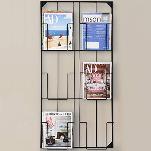 MyGift Large 6-Slot Wall-Mounted Magazine & Document Display Rack