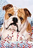 "Bulldog by Tamara Burnett Winter Berries Garden Dog Breed Flag 28"" x 40"""