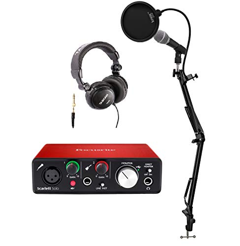 Focusrite Scarlett Solo USB Audio Interface (2nd Gen) and Pro Tools Bundle With Recording Microphone, Headphones, Knox Studio Stand Pop Filter, and XLR Cable (Best Digital Mixer For Logic Pro X)