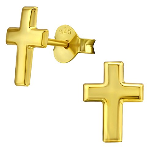 Hypoallergenic 14k Yellow Gold Plated Sterling Silver Cross Stud Earrings for Little Girls (Nickel Free) 14k Gold Plated Cross