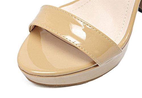 Damen Sexy Sandalen Stilett Hoch Hacke Schuhe Knöchel Gurt Schnalle Plattform Gucken Zehe Schwarz Arbeit Party Kleid Nachtclub APRICOT