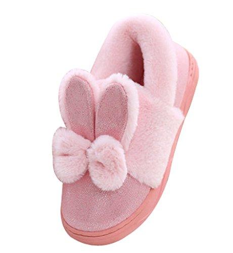 Cattior Kvinners Footcoverings Varm Kanin Tøffelen Sko Fuzzy Tøfler Rosa