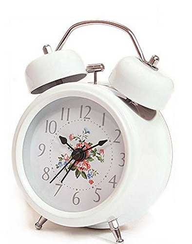 Kids Alarm Clock Creative Retro Flower Alarm Clock with Night Light for Children Kids Students (White)