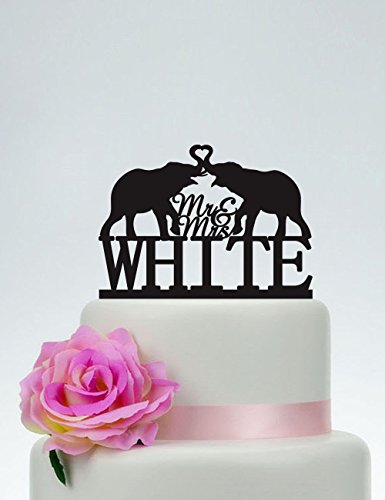 Elephant Mr And Mrs With Last Name Custom Personalized Animal Heart Topper Funny Wedding Cake Topper Bride And Groom Present For Wedding Decortions Rustic Bridal Shower Gifts by Dikoum
