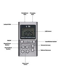 BTECH MPR AF1 Am   Radio FM portátil con dos tipos de auriculares estéreo, reloj, gran recepción y batería de larga duración