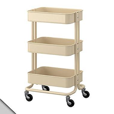 RASKOG Home Kitchen Bedroom Storage Utility Cart Dark Beige