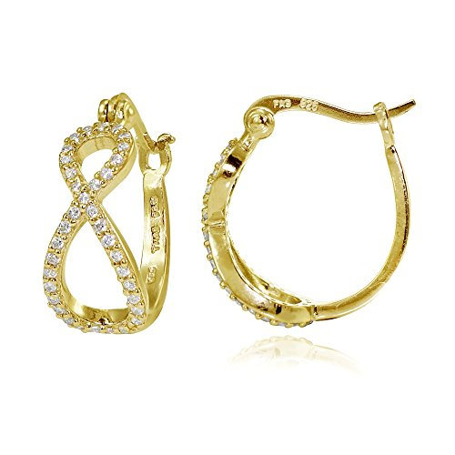 Yellow Gold Flashed Sterling Silver Cubic Zirconia Infinity Hoop Earrings