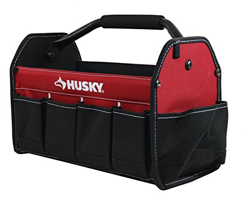 "Husky 398821  82042N12 15"" 600 Denier Tool Tote with 10 External Pockets and Center Handle"