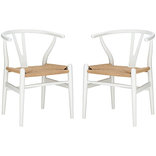 Poly and Bark Weave Chair in White (Set of 2)