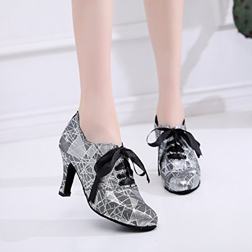 de diseño Heel de Black baile puntera Minishion 8 fiesta floral noche Zapatos con para lazo Cm cerrada para mujer 5U0Bx0p