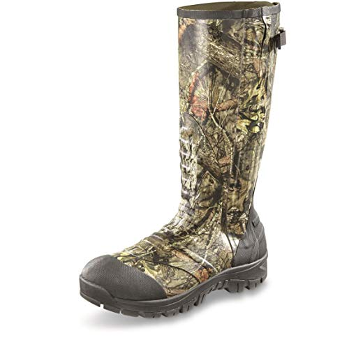 Guide Gear Mens Side Zip Ankle Fit Insulated Rubber Boots, 2,000 Grams, Mossy Oak Break-Up Country, 11D (Medium)